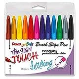 Pentel - Bolígrafo Brush Sign Pen, 10 unidades, color taschina 12 colori ass.ti