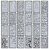 Juego de 24 plantillas de letras del alfabeto para diarios, suministros de papelería, álbumes de recortes, pintura, dibujo, manualidades, accesorios,...